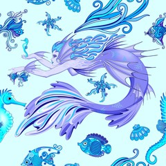 In de dag Draw Mermaid Purple Fairy Creature Seamless Pattern Vector Textile Design