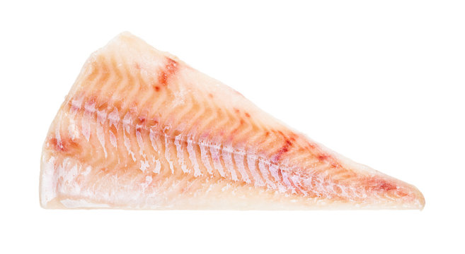 raw frozen fillet of cod fish isolated on white