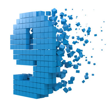 number 9 shaped data block. version with blue cubes. 3d pixel style vector illustration.