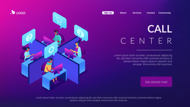 Customer service operators wearing headsets answering phones in the office. Call center, handling call system, virtual call center concept. Isometric 3D website app landing web page template