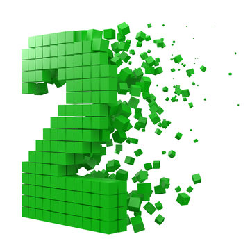 number 2 shaped data block. version with green cubes. 3d pixel style vector illustration.