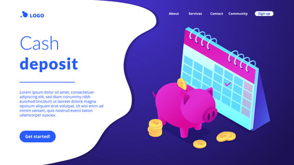 Saving golden coins with dollar sign in piggy bank and calendar with tick. Cash deposit, money-saving service, profitable investment concept. Isometric 3D website app landing web page template