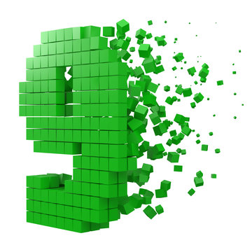 number 9 shaped data block. version with green cubes. 3d pixel style vector illustration.