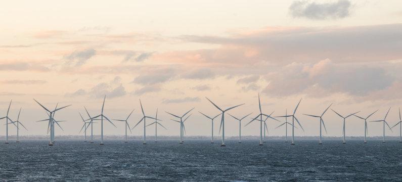 Wind turbines off the coast of Denmark