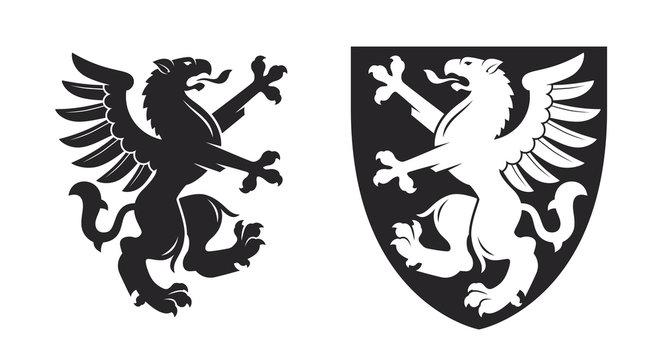 Black heraldic rampant griffin