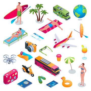 summer vacation isometric icons set