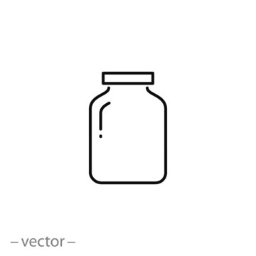 glass jar icon, line symbol on white background - editable stroke vector illustration eps10