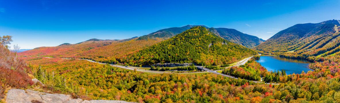 Highway through the Notch in autumn