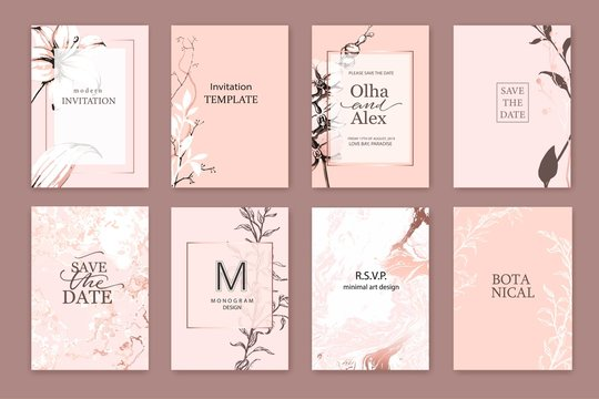 Set of elegant chic blush cards with pink lilies, white and rose gold marble texture. Wedding, save the date design.