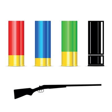 shotgun shell with silhouette of the gun