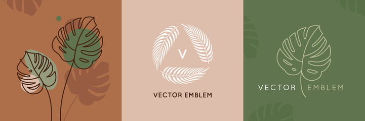 Vector abstract logo design templates in trendy linear minimal style - monstera leaf - abstract symbol for cosmetics and packaging, jewellery, hand crafted  or beauty products
