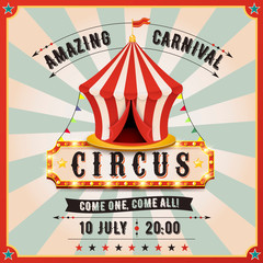 Vintage carnival banner. Circus tent.
