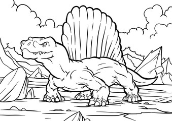 Cartoon funny Dimetrodon, funny image