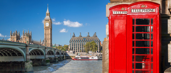 Wall Mural - London symbols, Big Ben and Red Phone Booths with boat on river in England, UK