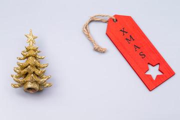 Golden x-mas tree with label