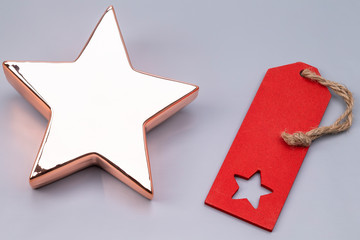 X-mas star with red label