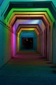 Birmingham, AL color tunnel at night