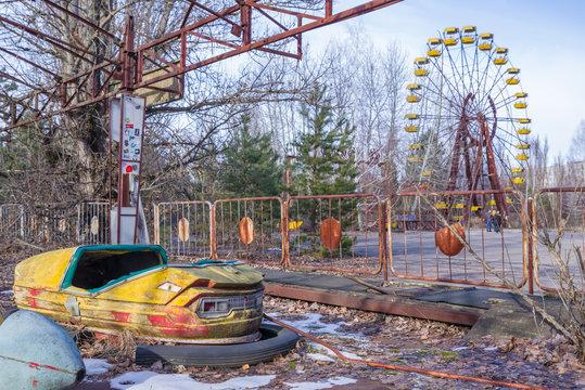 Abandoned amusement park in Pripyat, in Chernobyl Exclusion Zone, Ukraine
