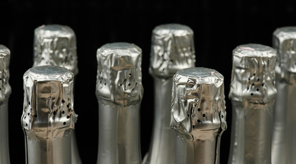 Silver champagne wine bottles