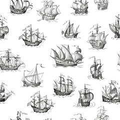 Old caravel, vintage sailboat. Vector seamless pattern
