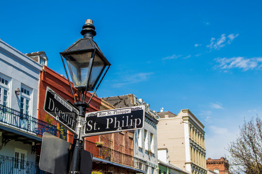 Classic Colonial Buildings Stand out behind a Lamppost on the Corner of Decatur and St. Philip in the French Quarter of New Orleans, Louisiana, USA