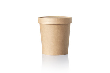Empty round paper food container isolated on white background. Biodegradable big paper cup for ice cream and craft soup and etc. 300 grams paper container with reflection