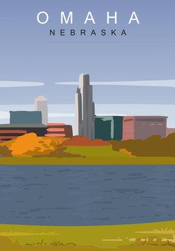 Omaha modern vector poster. Omaha, Nebraska landscape illustration.