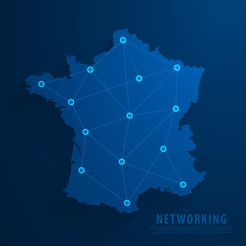 Simple blue France map background, vector