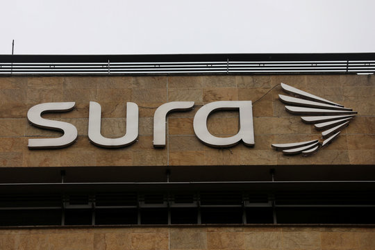 The Grupo Sura logo is seen at its headquarters in Medellin