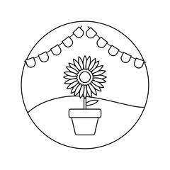 sunflower in pot plant with garlands in frame circular