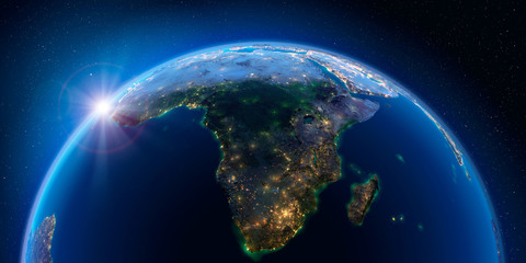 Earth at night and the light of cities. South Africa and Madagascar.