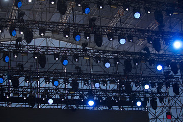 Lighting equipment on stage during a concert