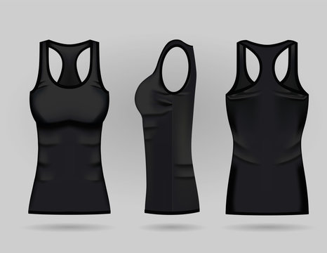 Blank women's black tank top in front, back and side views. Vector illustration. Isolated on white background. Realistic female sport shirts