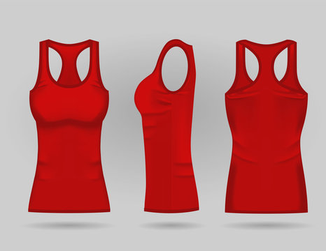Blank women's red tank top in front, back and side views. Vector illustration. Isolated on white background. Realistic female sport shirts
