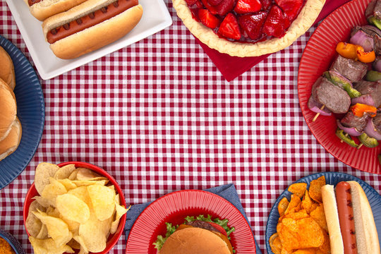 Background of a Table Set for an American BBQ with Red White and Blue