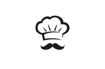Creative Chef Hat MoustacheLogo Design Vector Symbol Illustration