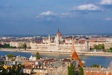 Beautiful view of Budapest historic center with the famous Hungarian Parliament and Danube River