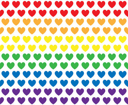 Vector seamless pattern of lgbt rainbow hearts isolated on white background