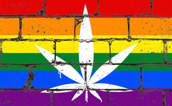 Graffiti street art spray drawing on stencil. Cannabis leaf on brick wall with flag LGBT community