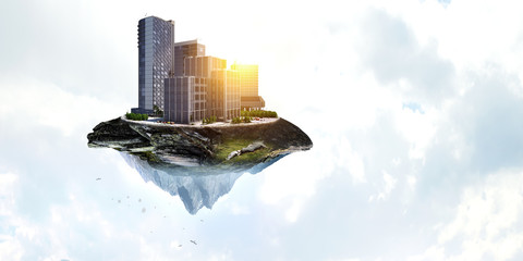 Abstract mountain and city view Wall mural