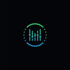 music composer logo geometric modern line vector icon