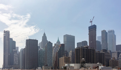 Fototapete - Aerial view of Manhattan skyscrapers, New York city, cloudy spring day