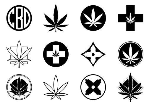 Marijuana, Cannabis icons set.  Set of medical and recreational marijuana logo and icons. Marijuana leaf. CBD logo. Isolated vector illustration.