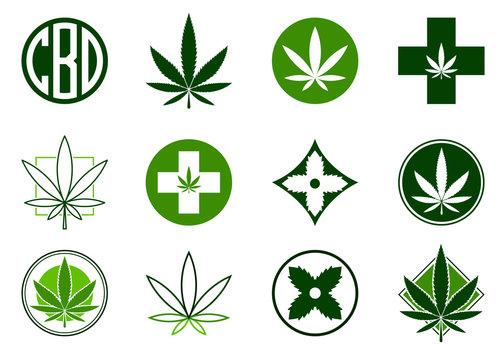 Marijuana, Cannabis icons set.  Set of medical and recreational marijuana logo and icons. Green Marijuana leaf. CBD logo. Isolated vector illustration.