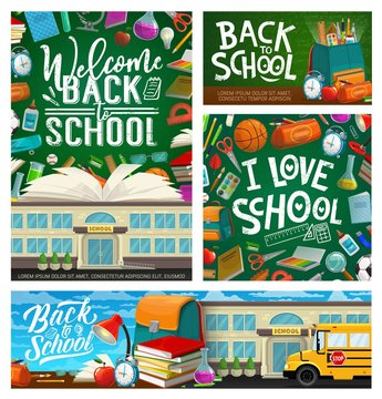 Back to school stationery and rucksack, blackboard