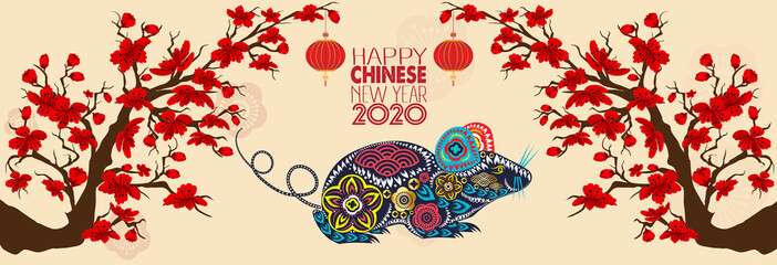 Set Banner Happy new year 2020 greeting card and chinese new year of the rat, Cherry blossom background