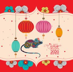 Recess Fitting Birds in cages Creative chinese new year 2020. Year of the rat. Chinese characters mean Happy New Year