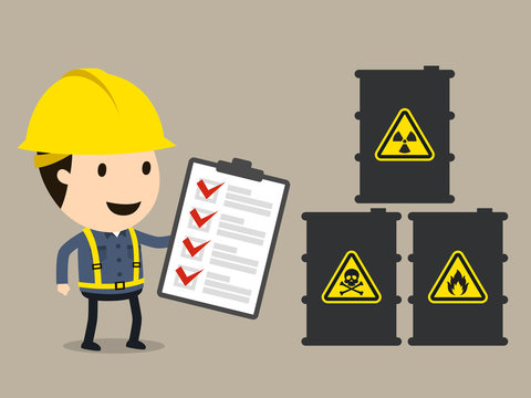 Material Safety Data Sheet (MSDS), Check list, Safety and accident, Industrial safety cartoon, Vector illustration