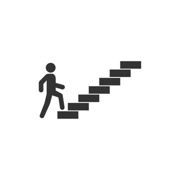 Man on stairs going up. People icon. Vector icon for apps and websites.