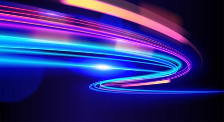 Vector art of dynamic light motion, light trail, high speed effect, traffic motion. light motion effect, slow shutter of traffic.  Fototapete